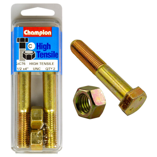 """CHAMPION FASTENERS BC74 HIGH TENSILE UNC BOLTS /& NUTS 1//2/"""" x 3/"""" PACK OF 2"""